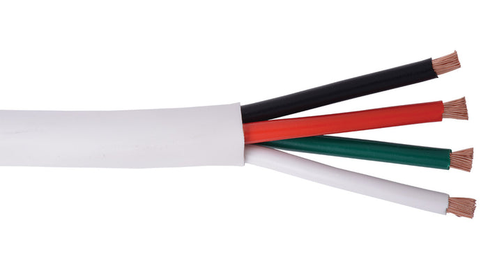 14-4C-KO+-WHT White KnockOut 14 AWG 4 conductor speaker cable