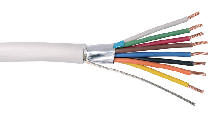22-8C-PSH-WHT White Commercial grade general purpose 22 AWG 8 conductor plenum shielded cable