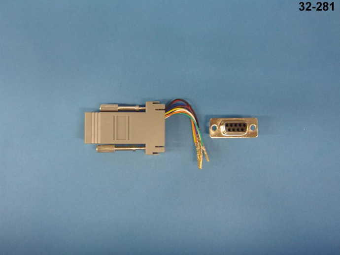 32-281 D-SUB 9-pin female to female 8P8C user configurable adapter