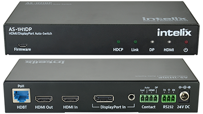 AS-1H1DP HDMI/DisplayPort Auto-Switcher with HDMI & HDBaseT Output