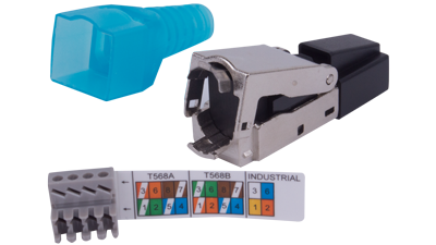 Easy No-Tool Category 6, 6A, and 7 Shielded RJ45 Plug