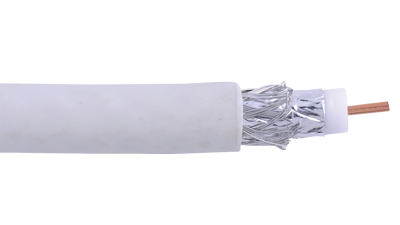 RG6-CM-WHT White RG6 CCS dual shielded coaxial cable swept to 3.0 GHz