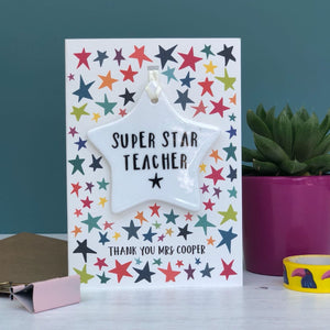 Super Star Teacher Card With Ceramic Star Ornament Keepsake