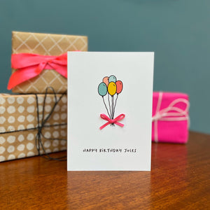 Balloons Personalised Birthday Card With Bow