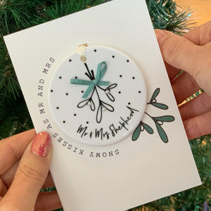 Mr And Mrs Christmas Card And Christmas Tree Decoration