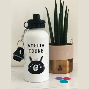Monochrome Bunny and hearts Water Bottle