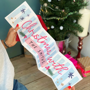 Large Concertina Christmas Greeting Card - Family Surname - Mantel Piece banner - alternative card