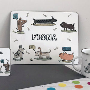 Dog Placemat, Coaster & Enamel Mug Gift Set
