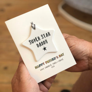Fathers Day Card With Ceramic Star Ornament Keepsake