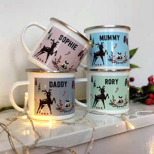 Kitsch Christmas Enamel Mugs