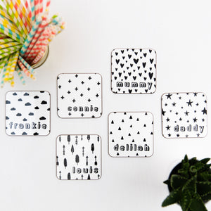 Monochrome Personalised Coaster