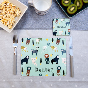 Monkeys Placemat, Coaster & Enamel Gift Set