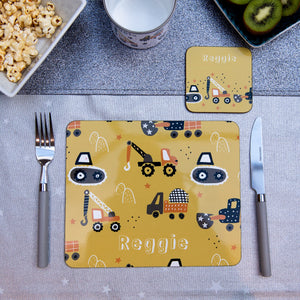 Trucks Personalised Placemat - Mustard background