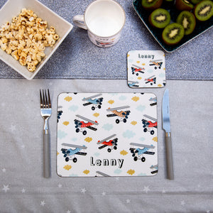 Aeroplanes Personalised Placemat - Vintage planes for boys and girls