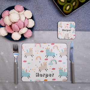 Llamacorns Placemat, Coaster & Enamel Gift Set