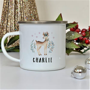 Christmas Retro Deer Enamel Mug