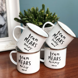 FAMILY PERSONALISED ENAMEL MUGS SET - TEAM [SURNAME] DESIGN