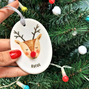 Ceramic Rudolph Christmas Decoration With Pom Pom Nose