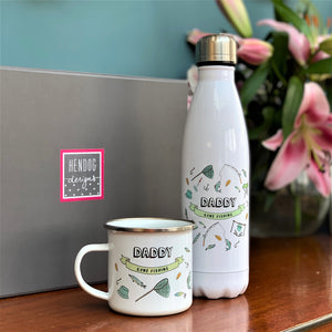 Fishing Thermal Water Bottle And Enamel Mug Set