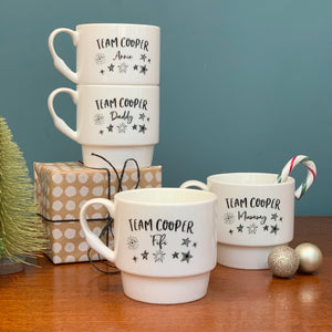 Family Personalised Stackable Bone China Mugs