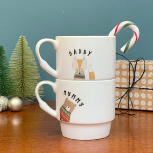 Winter Animals Personalised Stackable Bone China Mugs