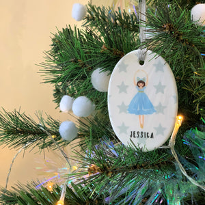 Oval Ceramic Blue Ballerina Christmas Decoration
