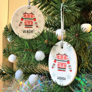 Personalised Christmas Jumper Ceramic Bauble