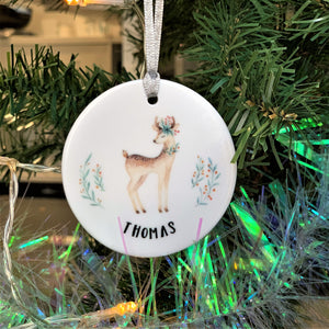 Round Ceramic Retro Deer Christmas Decoration