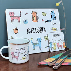 Cat Placemat, Coaster & Enamel Mug Gift Set
