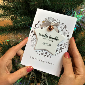 Twinkle Twinkle Little Star Card And Star Decoration