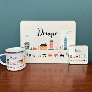 City Scene Personalised Placemat, Coaster & Enamel Mug Gift Set