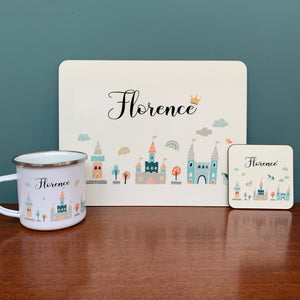 Fairy Tale Personalised Placemat, Coaster & Enamel Mug Gift Set
