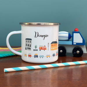 City Scene Personalised Enamel Mug