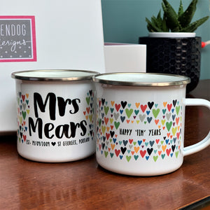 10 Year Anniversary Tin Years Mr And Mrs Personalised Enamel Mug Set