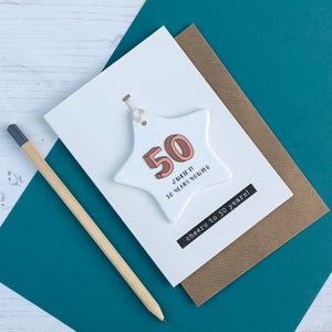 50th Birthday Card With Ceramic Star Ornament Keepsake