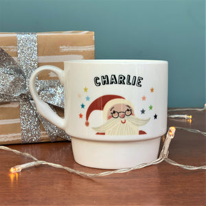 Luxury Personalised Bone China Retro Santa Mug