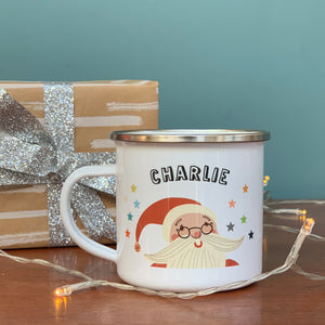Christmas Enamel Mug with Father Christmas