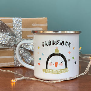 Christmas Enamel Mug With Penguin