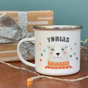 Christmas Enamel Mug With Winter Bear
