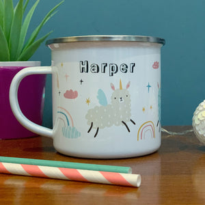 Llamacorn Personalised Enamel Mug