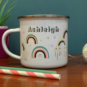 Rainbows Personalised Enamel Mug