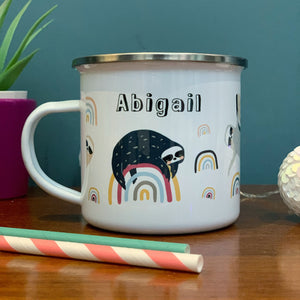 Sloths & Rainbows  Personalised Enamel Mug