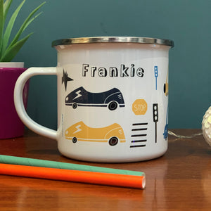 Transport Personalised Enamel Mug - cars, vans and traffic signs