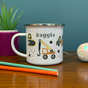 Trucks Personalised Enamel Mug with mustard and navy tones