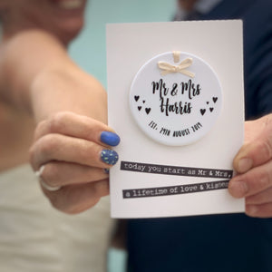 Wedding Card With Ceramic Round Keepsake