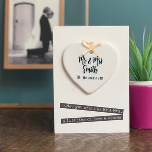 Luxury Wedding Card With Heart Ceramic Keepsake