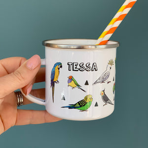 Tropical Bird and Parrot Personalised Enamel Mug