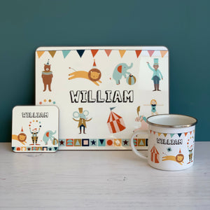 Circus Personalised Placemat, Coaster & Enamel Mug Gift Set