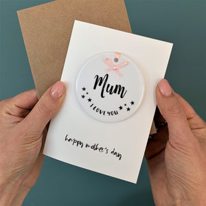 Mothers Day Card With Round Ceramic Ornament Keepsake
