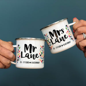 Mr And Mrs Personalised Enamel Mug Wedding Set
